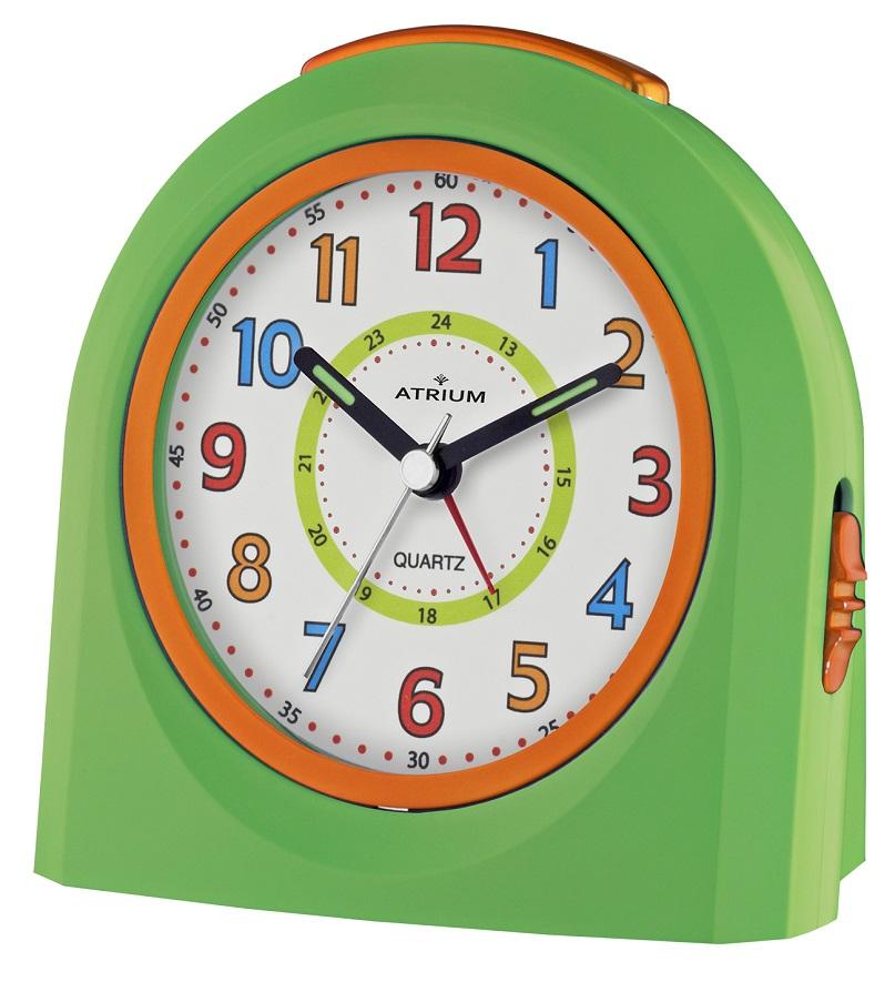 Kinderwecker von Atrium A921-3 in grün orange mit Weckwiederholung und schleichender Sekunde