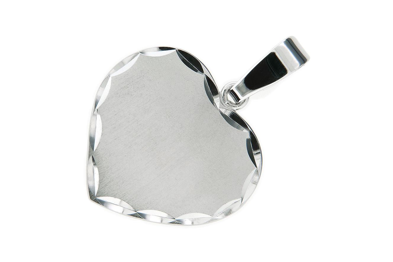 Gravurplatte Herz Anhänger in Silber 925 rhodiniert und geschliffener Kante