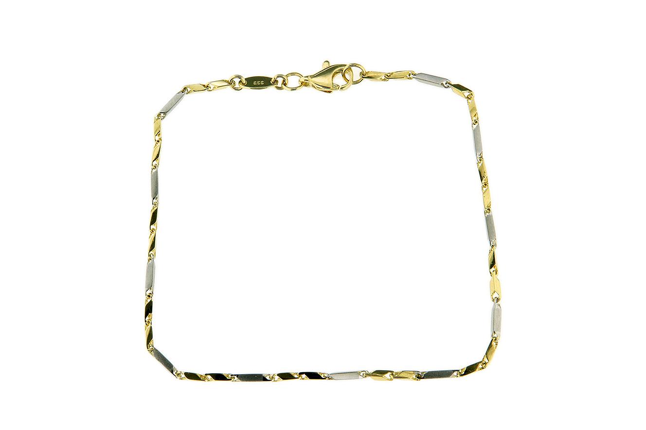 19cm Armband in Gold 333 mit Weißgold und Gelbgold Stäbchen