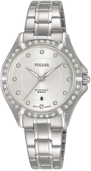 Damenarmbanduhr von Pulsar PH7529X1 mit Edelstahlgehäuse, Faltschließe und Swarovski Crystale
