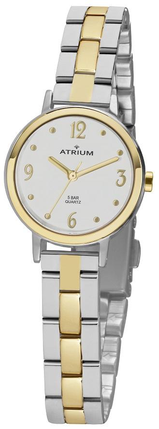 Armbanduhr Atrium A38-40 mit weißen Zifferblatt und Faltschließe im bicolor Design