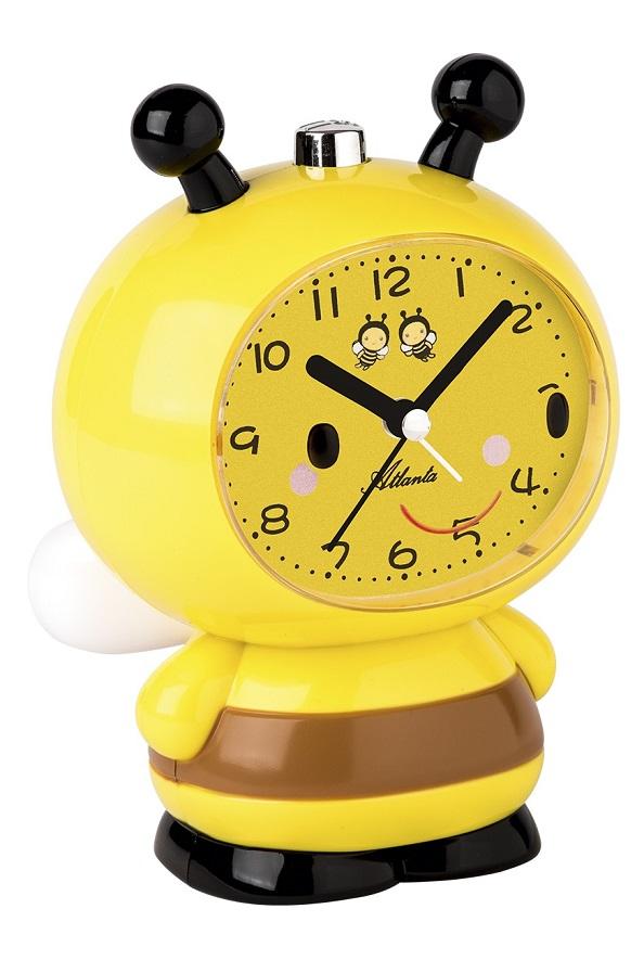 Kinderwecker Atlanta Biene 2162 in gelb mit Weckwiederholung, Glocke, Melody, Licht und fließende Se
