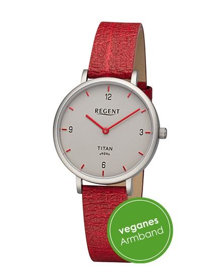 Armbanduhr aus Titan Regent BA-689 mit grauen Zifferblatt und veganen Armband in rot