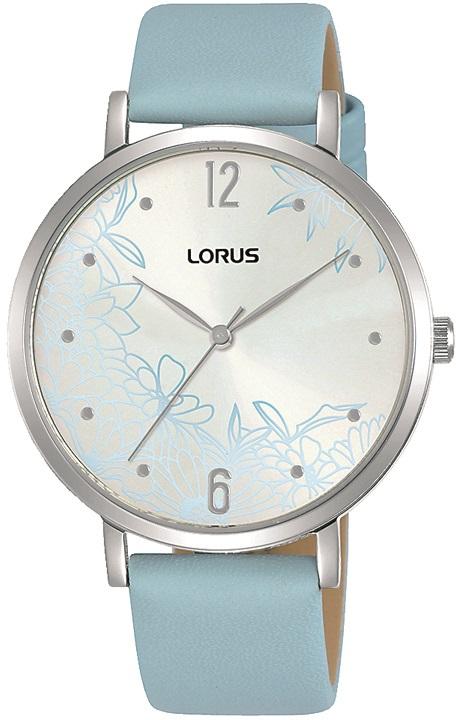 Damenarmbanduhr Lorus RG297TX9 mit silbernen Zifferblatt und Blumenmuster