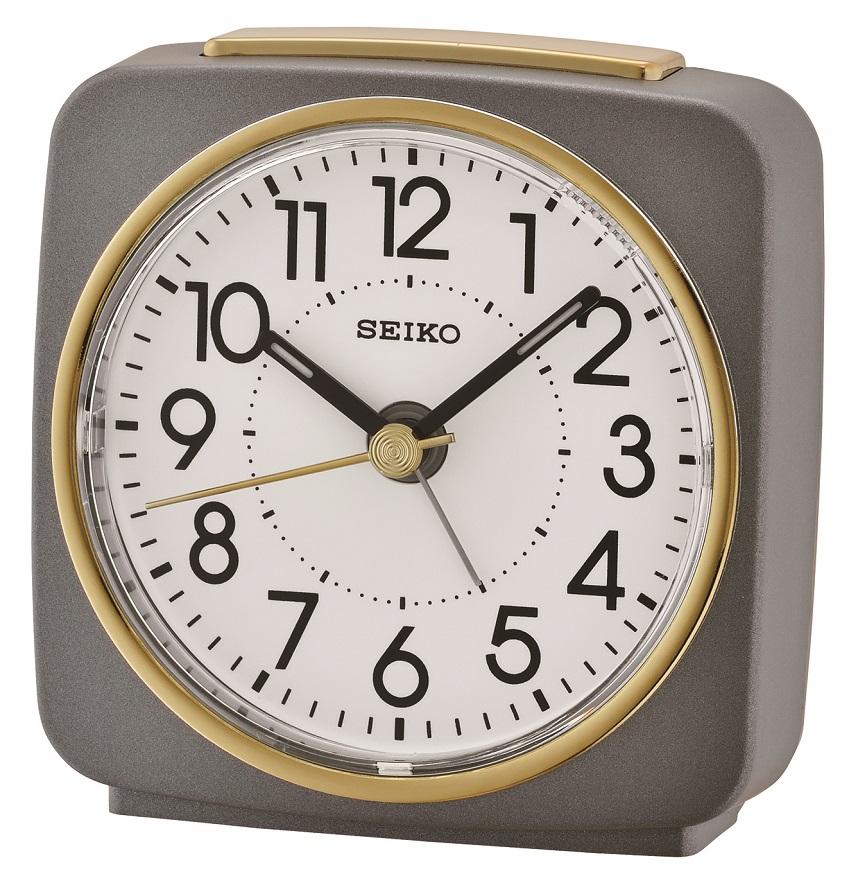 Grau mit goldenen Applikationen Seiko Wecker QHE140N mit laufender Sekunde und Licht