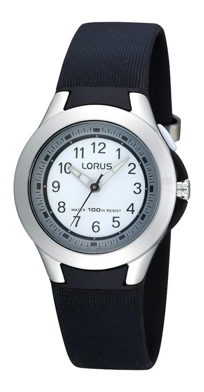 Schwarze Armbanduhr der Marke Lorus R2305FX9 mit Silkonarmband.