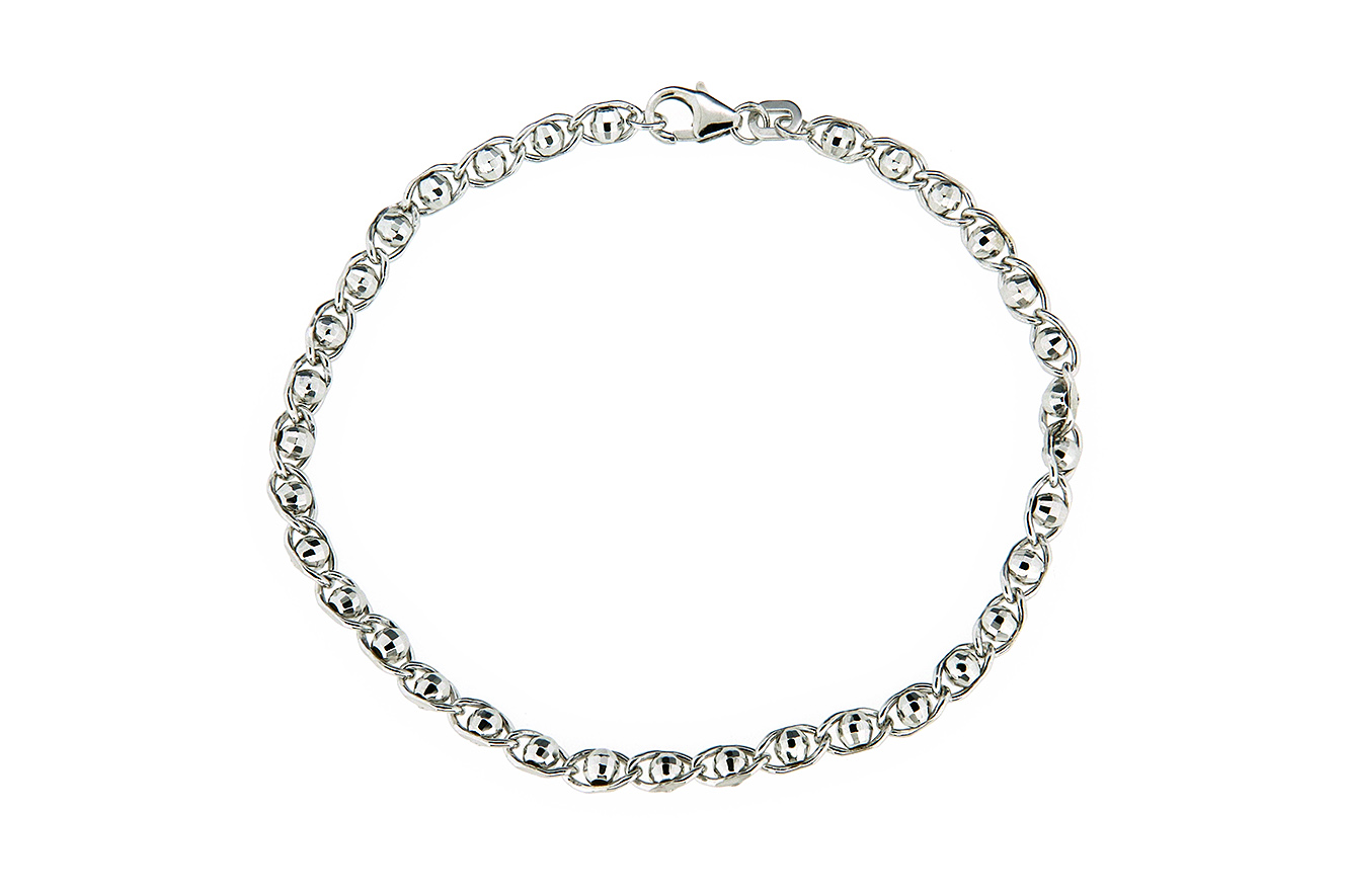 19cm Armband in Silber 925 rhodiniert mit geschliffenen Kugeln