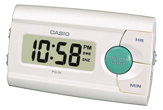 Elfenbein farbiger Digitalwecker Casio PQ-31-7EF mit Licht, Weckwiederholung und 12-24 Stunden Anzei
