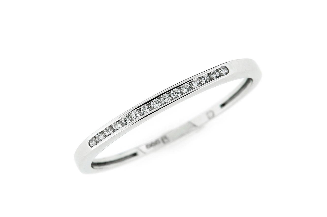 Gr.56 Ring gefertigt in Gold 585 Weißgold und weißen Zirkonia