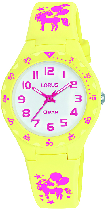 Kinderuhr mit Einhorn von Lorus RRX69GX9 und rosa Silikonarmband