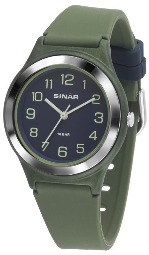 Fashion Armbanduhr XB-48-3 mit armygrünen Silikonarmband von Sinar