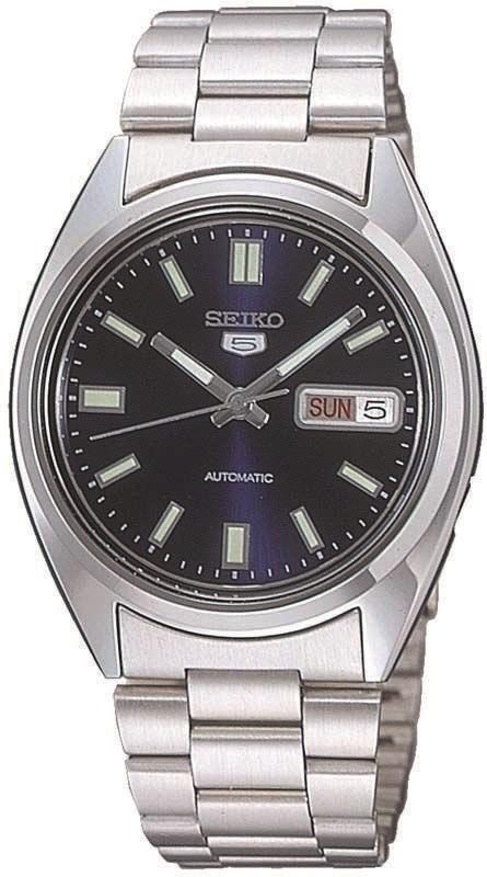 Herrenarmbanduhr Automatik von Seiko SNXS77K mit Handaufzug und Tag-Datumsanzeige, Seiko 5 Five