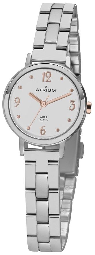 Armbanduhr Atrium A38-40 mit weißen Zifferblatt und Faltschließe mit rosegold farbenen Zahlen