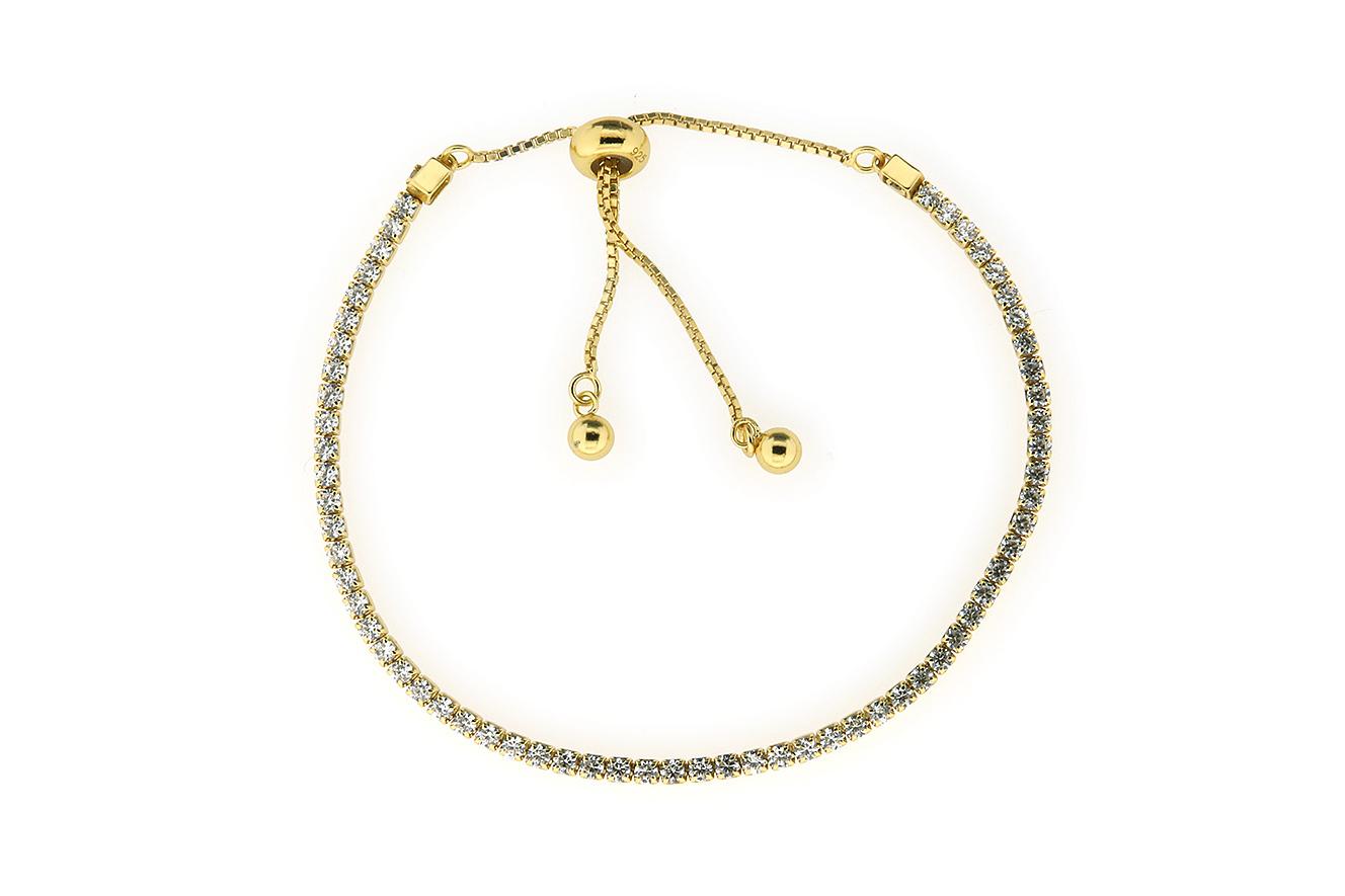25-14cm Tennisarmband in Silber 925 vergoldet Fantasieverschluß und Zirkonia
