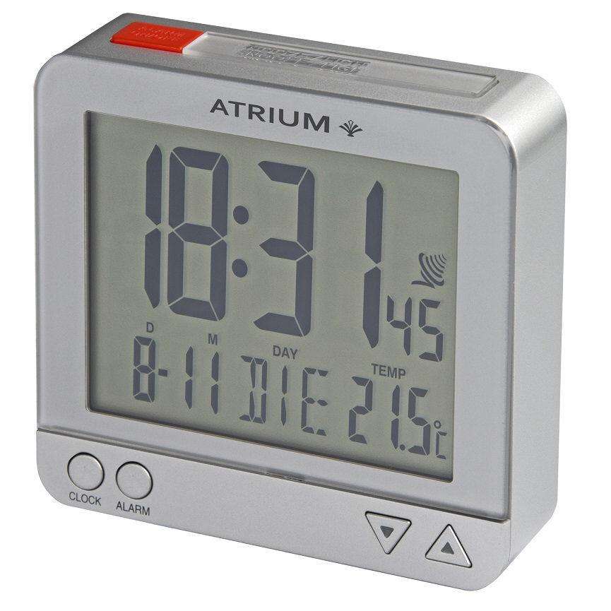 Silberner Funkwecker Atrium A740-19 Autolicht mit Lichtsensor, Weckwiederholung, Temperaturanzeige,