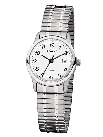 Armbanduhr von Regent F-885 mit Edelstahlgehäuse und Zugarmband sowie Datum