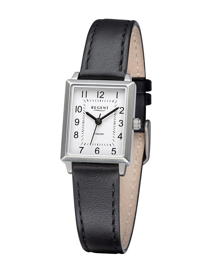 Armbanduhr Regent F-1315 mit Titangehäuse und Lederarmband mit Dornschließe