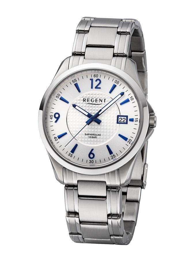 Armbanduhr Regent F-1185 mit silbernen Zifferblatt sowie Saphirglas und Leuchtzeigern sowie Datumsan