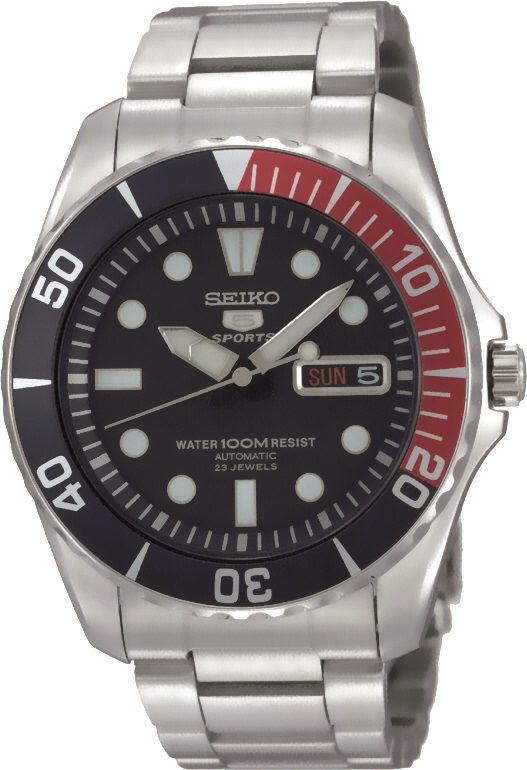 Automatik Armbanduhr aus dem Haus Seiko SNZF15K1 mit Leuchtzeigern und Tag-Datumsanzeige