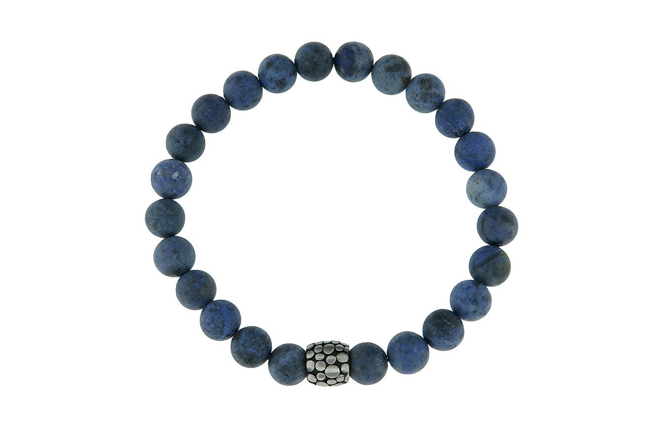 Trendiges Stretcharmband mit blauen Dumortierit Steinkugeln